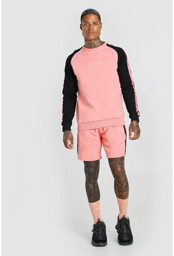 MAN Trainingsanzug aus Sweatshirt und Shorts mit Colorblock-Optik, Korallrot