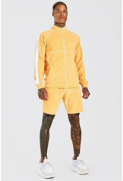 MAN Trainingsanzug aus Velours mit Trichterkragen und Shorts, Orange