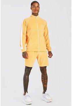 Orange Man Velour Funnel Neck Short Tracksuit