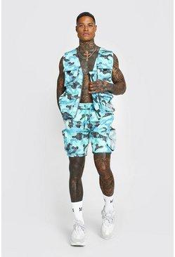 Green Man Official Camo Print Utility Vest & Short Set