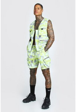 Lime Man Official Camo Print Utility Vest & Short Set