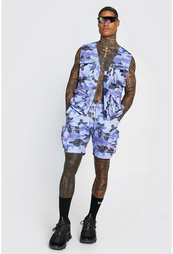 Purple Man Official Camo Print Utility Vest & Short Set