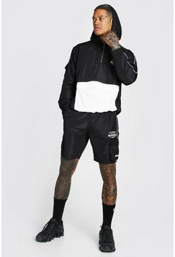 Ensemble short et imperméable à poche cargo Man Official, Noir