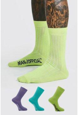 Multi 3 Pack Man Official Socks