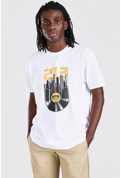 White Oversized Death Row Vinyl Print License T-Shirt