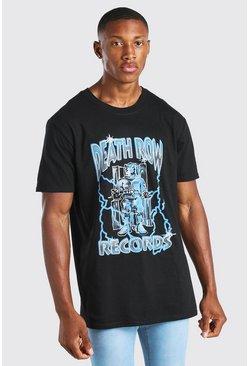 Black Oversized Death Row Lightening License T-Shirt