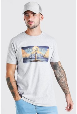 Grey marl Oversized Columbia Print T-Shirt