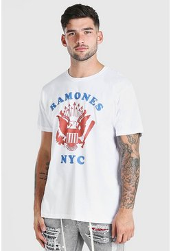 White Oversized Ramones Nyc Print License T-Shirt