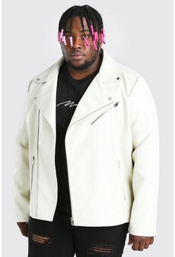 Off white Plus Size Leather Look Biker Jacket