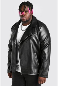 Black Plus Size Leather Look Biker Jacket