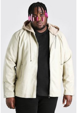 Stone Plus Size Leather Look Biker With Hood
