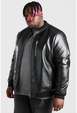 Black Plus Size Faux Leather Bomber Jacket