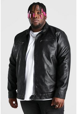 Black Plus Size Faux Leather 2 Pocket Harrington