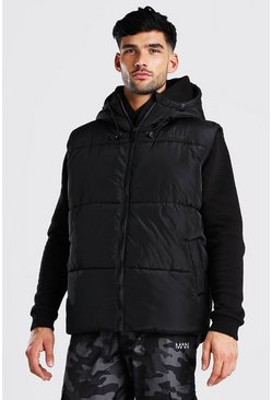 Black Hooded Toggle Detail Gilet