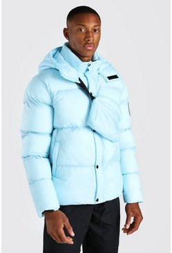 Light blue 2 In 1 Hooded Puffer With Detachable Xbody Bag