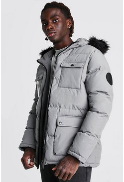 Grey 4 Pocket Fur Trim Parka