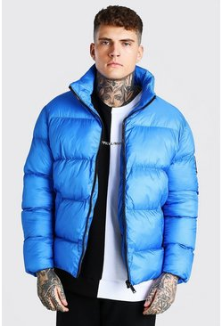 Blue Oversized Curved Hem Puffer