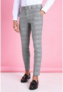 Black Super Skinny Prince Of Wales Check Pants