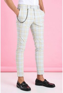 Yellow Super Skinny Smart Check Pants With Chain