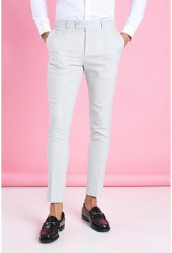 Light grey Super Skinny Check Smart Pants