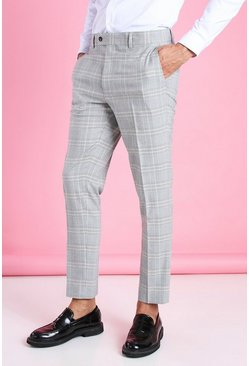 Grey Skinny Smart Check Pants