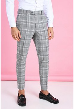 Black Skinny Tapered Smart Check Trouser with Pintuck