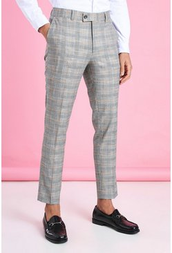 Black Skinny Smart Neon Check Pants