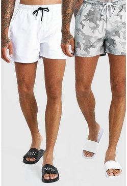 White 2 Pack Camo Print And Plain Mid Length Swim Shorts