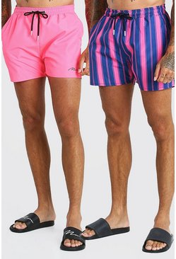 Pink 2 Pack Stripe And Plain Mid Length Swim Shorts