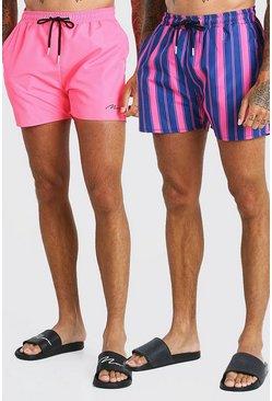 Pink 2 Pack Stripe And Plain Mid Length Swim Shorts