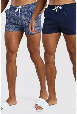 Navy 2 Pack Bandana And Plain Short Length Swim Shorts