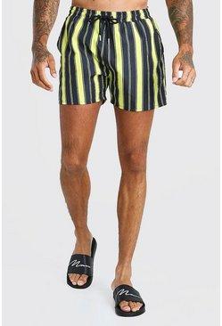 Yellow 2 Pack Stripe And Plain Mid Length Swim Shorts