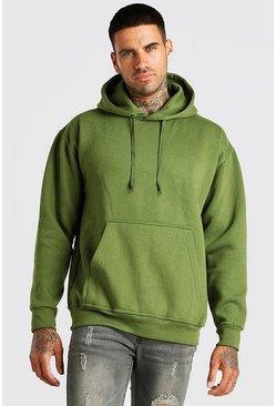 Khaki Basic Over The Head Fleece Hoodie