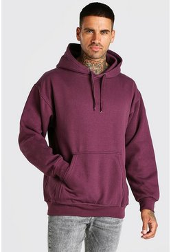 Burgundy Basic Over The Head Fleece Hoodie
