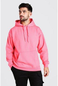 Pink Basic Over The Head Fleece Hoodie