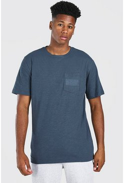 Navy Basic Crew Neck Pocket T-Shirt