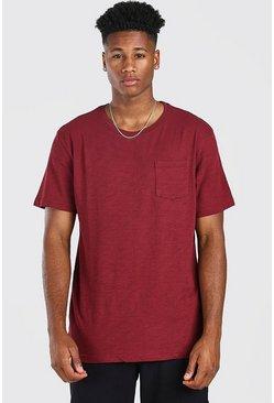 Burgundy Basic Crew Neck Pocket T-Shirt