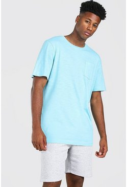 Blue Basic Crew Neck Pocket T-Shirt