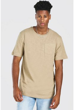 Khaki Basic Crew Neck Pocket T-Shirt