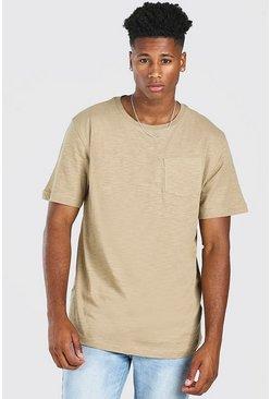 Khaki Basic Crew Neck Pocket T-Shirt