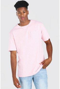 Pale pink Basic Crew Neck Pocket T-Shirt
