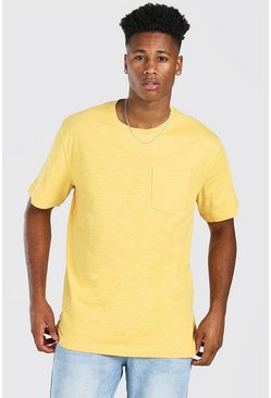 Mustard Basic Crew Neck Pocket T-Shirt