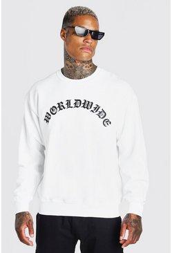 White Oversized Worldwide Print Sweatshirt