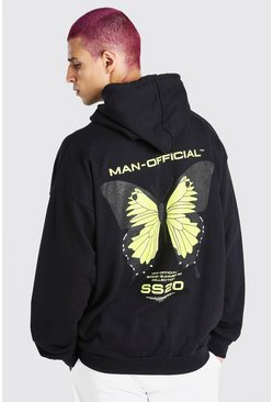 Black Oversized MAN Butterfly Back Print Hoodie