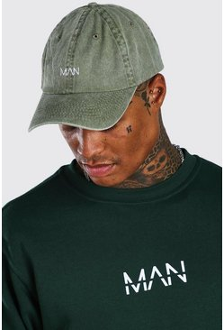 Green MAN Dash Washed Curve Peak Cap