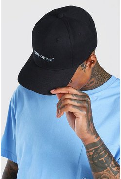Black MAN Official Pastel Text Curve Peak Cap