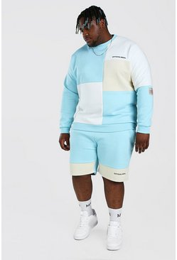 Blue Plus Size Colour Block Short Tracksuit