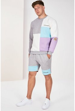 Grey marl Plus Size Colour Block Short Tracksuit