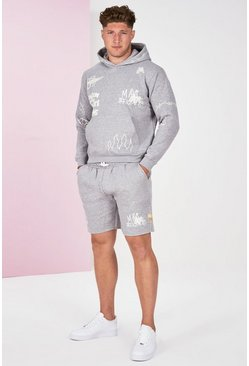 Grey marl Big And Tall Graffiti Tracksuit