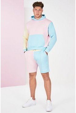 Pink Plus Size Colour Block Tracksuit